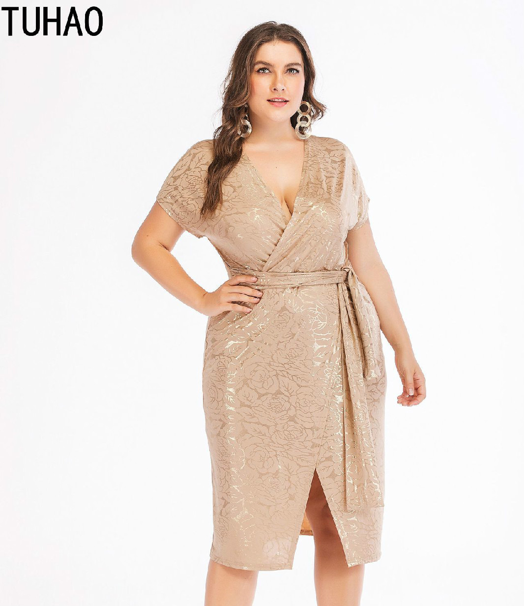 TUHAO Autumn Winter Middle Age Mother Vintage Party <font><b>Dresses</b></font> Plus Size <font><b>4XL</b></font> 3XL Elegant <font><b>Sexy</b></font> Split Femme <font><b>Dress</b></font> Runway <font><b>Club</b></font> <font><b>Dress</b></font> image