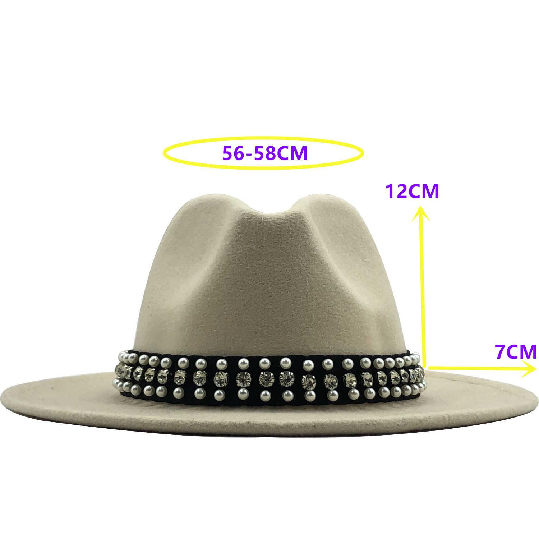 Laki-laki Panas Topi Wol Merasa Topi Fedora Panama Topi dengan Sabuk Gesper Jazz Trilby Cap Pesta Formal Topi dalam Warna Pink, putih