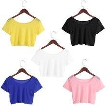 5 Colors Women Semi-transparent Mesh Crop Tops Girl Short Sleeve T Shirts Tees(China)