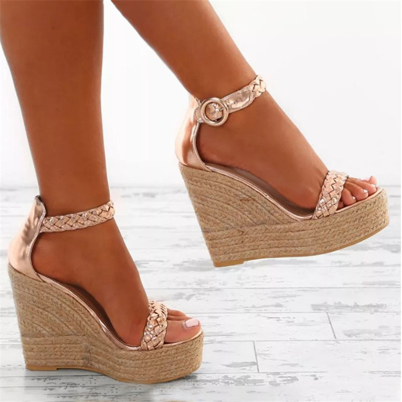 Golden white Summer <font><b>Sexy</b></font> <font><b>Platform</b></font> Shoes Wedges <font><b>Sandals</b></font> <font><b>High</b></font> <font><b>Heel</b></font> Fashion Open Toe Elevator Women Pumps <font><b>Sandals</b></font> Plus Size 34-43 image