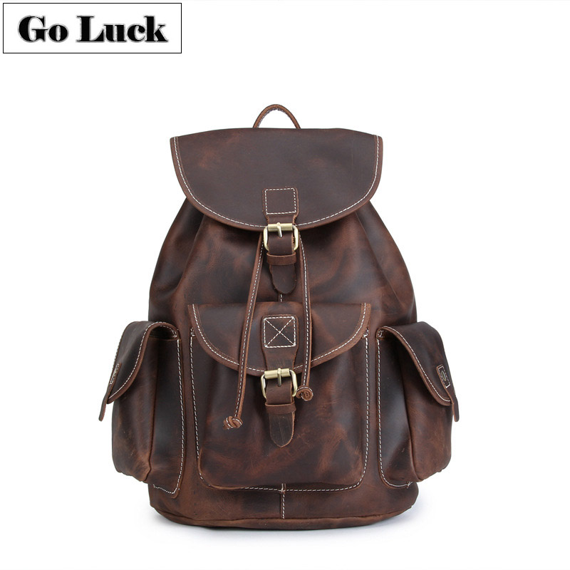 GO-LUCK Brand Hand-made Crazy Horse Genuine Leather Casual Travel Backpack Men Cowhide Backpacks Men's Double Shoulder Bag