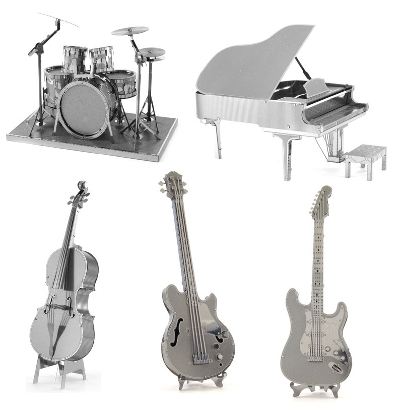 Metal Puzzle 3D Metal Assembly Model DIY Puzzle Puzzle Musical Instrument Piano Guitar Drum Kit Cello Model Craft Decoration
