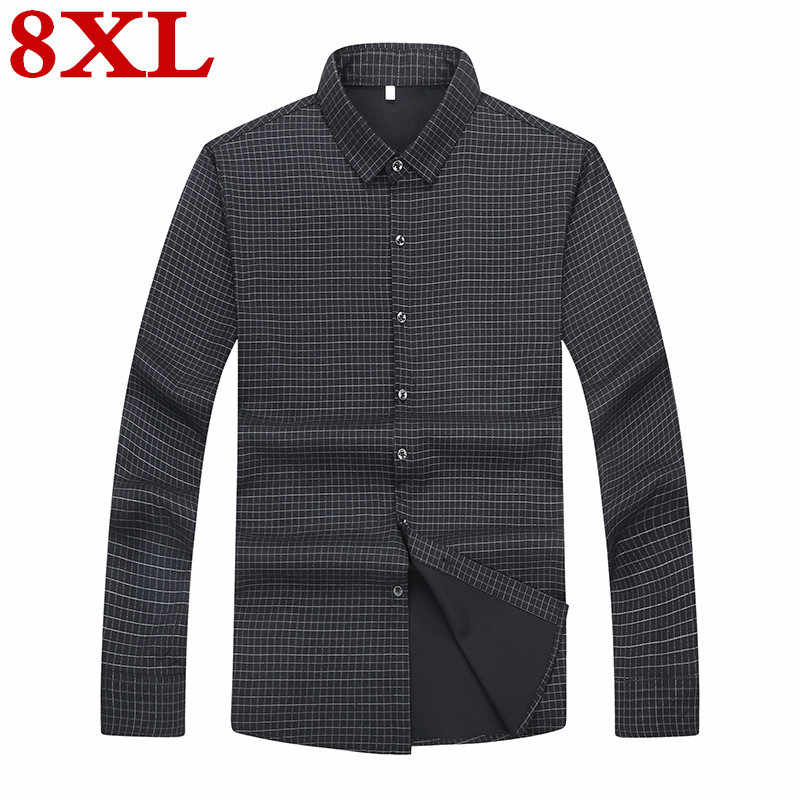 Mais tamanho 8xl 7xl 6xl nova chegada dos homens camisas casuais dos homens de manga longa moda formal vestido camisa masculina roupas marca solto ajuste