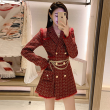 SONDR Women Red Tweed Plaid Blazer, Gold Double Buttoning Jacket, Long And Thick