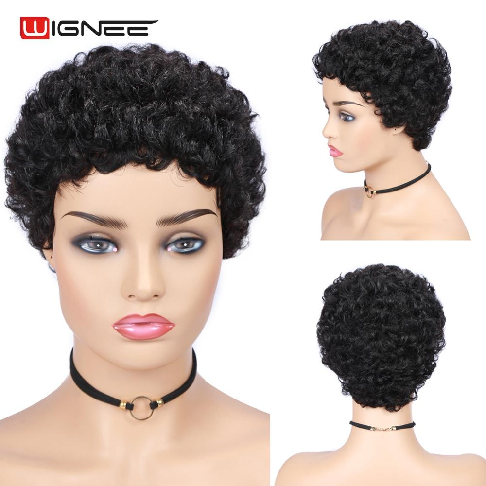 Wignee Short Human Hair Wig For Black/White Women Remy India Hair Natural Black Afro Curly Glueless Short Human Wig Dropshipping