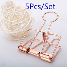 5Pcs Rosegold Binder Clips Paper Clip Office School Supplies Binding Supplies Files Bag Documents Bag Clips Metal Clips(China)