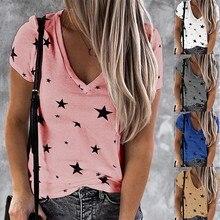新しい女性の夏半袖vネックハートtシャツファッションカジュアルルーズプラスサイズのS-5XLトップス