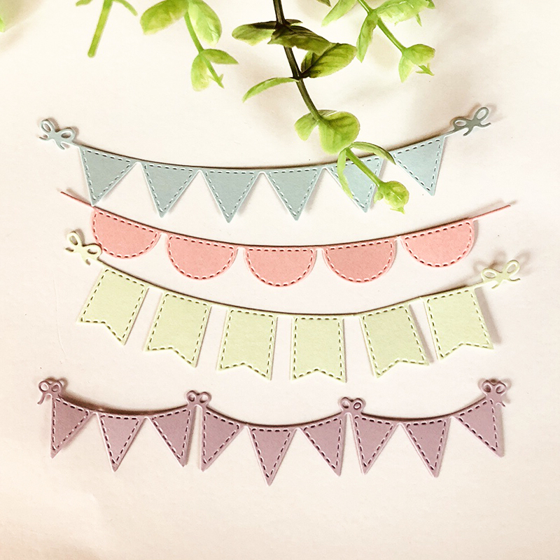 4pcs Triangle Circle Banners Scrapbooking Dies Metal Cutting Dies Stencils For DIY Album Paper Card Decorative Craft Die Cuts