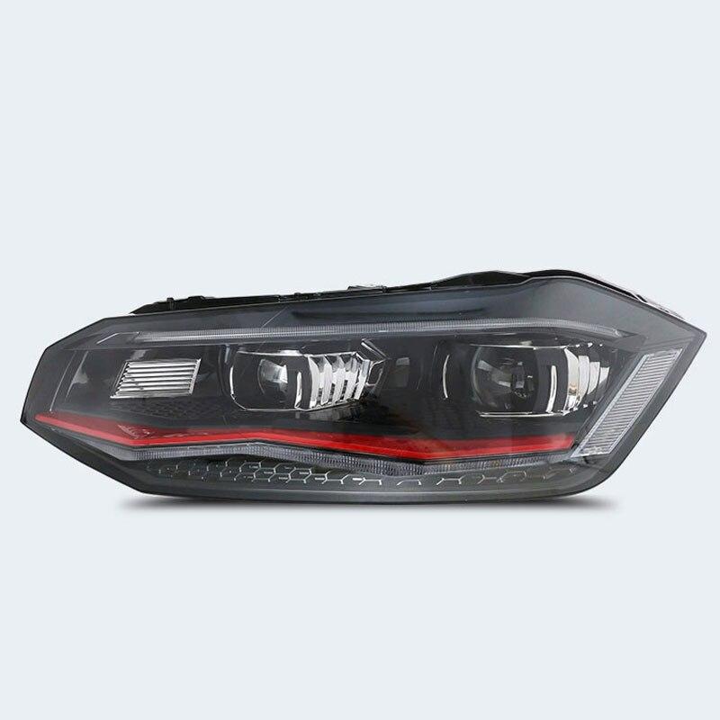 Автомобильный Стайлинг для VW Polo фары для VW Polo фары фара передняя Биксеноновая линза с двойным лучом - Цвет: RED
