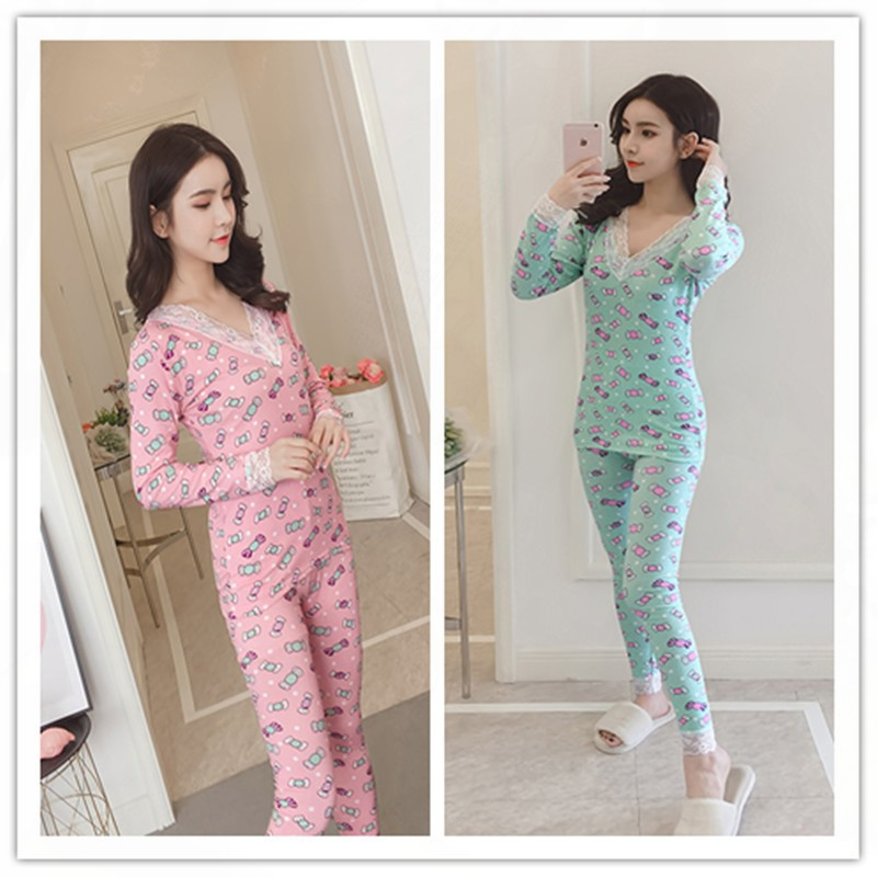 Ya Guan Winter New Style Warm And Rong Shui Yi V-neck Candy Women's Home Wear Long-sleeve Suit 3 Flower 2-Color M -Xxl