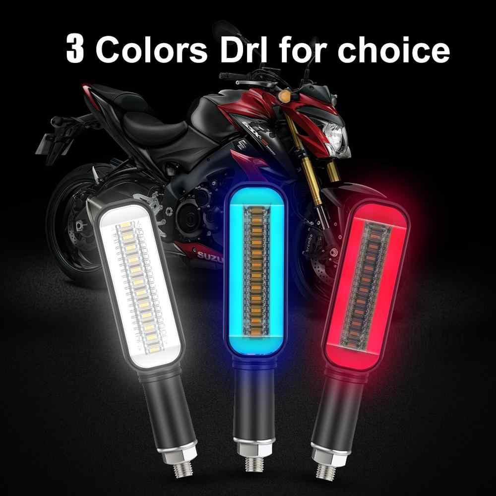 Motorfiets Led Richtingaanwijzer Drl Stromend Water Blinker Knipperende Indicator Staart Stop Signaal Lamp Motorfiets Blinker 12V