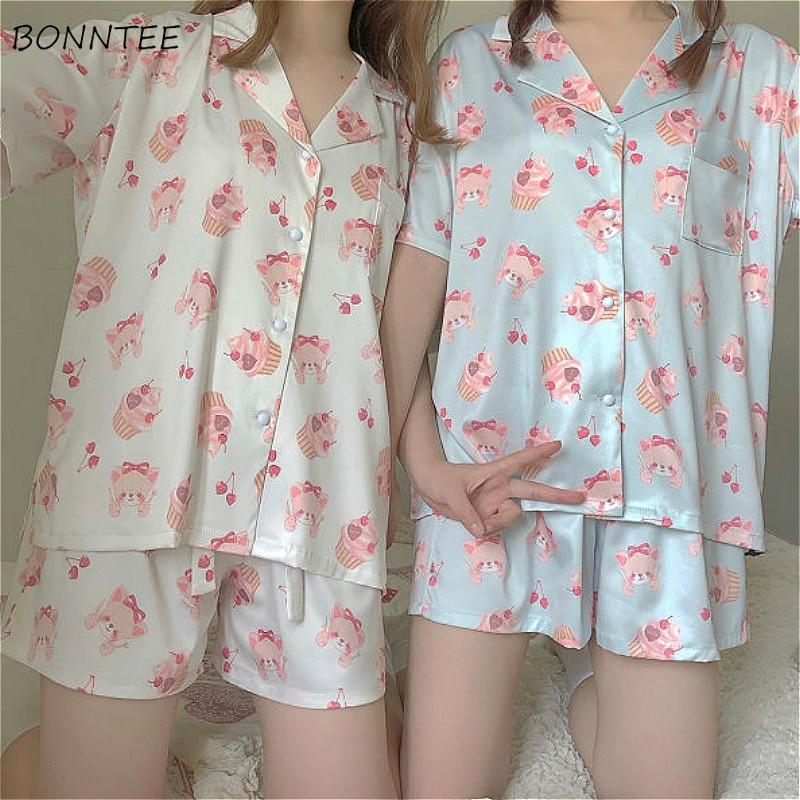 Женский пижамный комплект, мягкая летняя одежда для сна из шифона с коротким рукавом и надрезом|Комплекты пижам|   | АлиЭкспресс