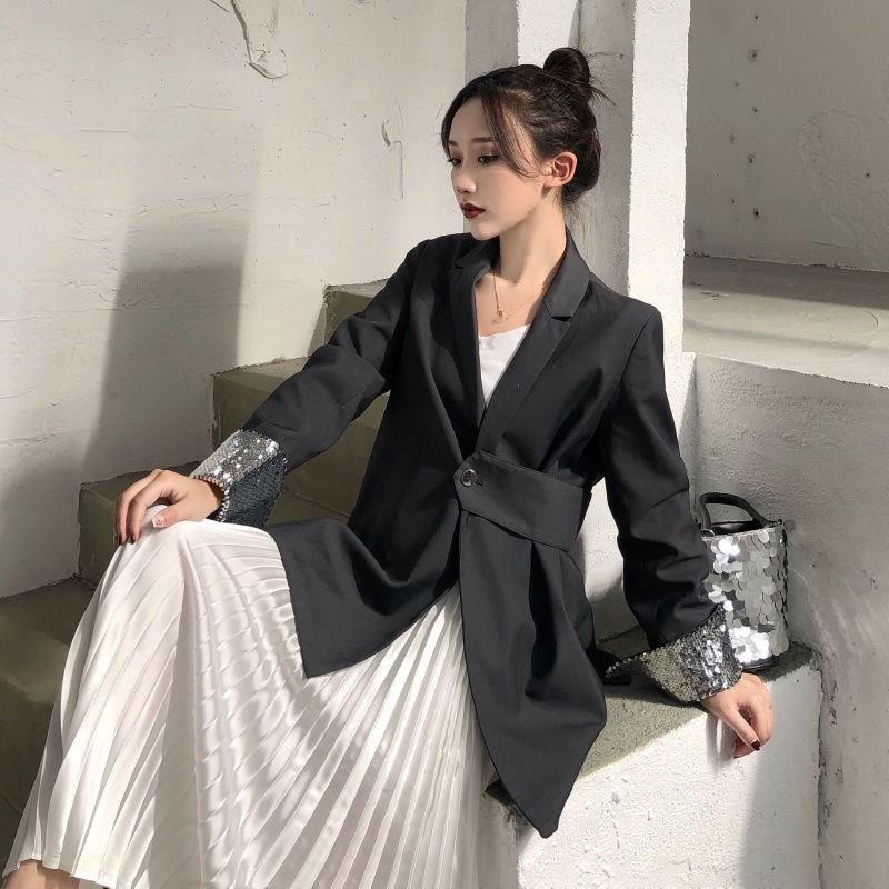 Korean Women Office Spring Fall Blazer Coat Single Button Twist Blazers Notched Female Work Solid Casual Blazer Jacket