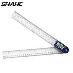 Shahe 200/300mm digital ângulo medidor inclinômetro ângulo de aço inoxidável régua digital transferidor eletrônico goniômetro ângulo finder