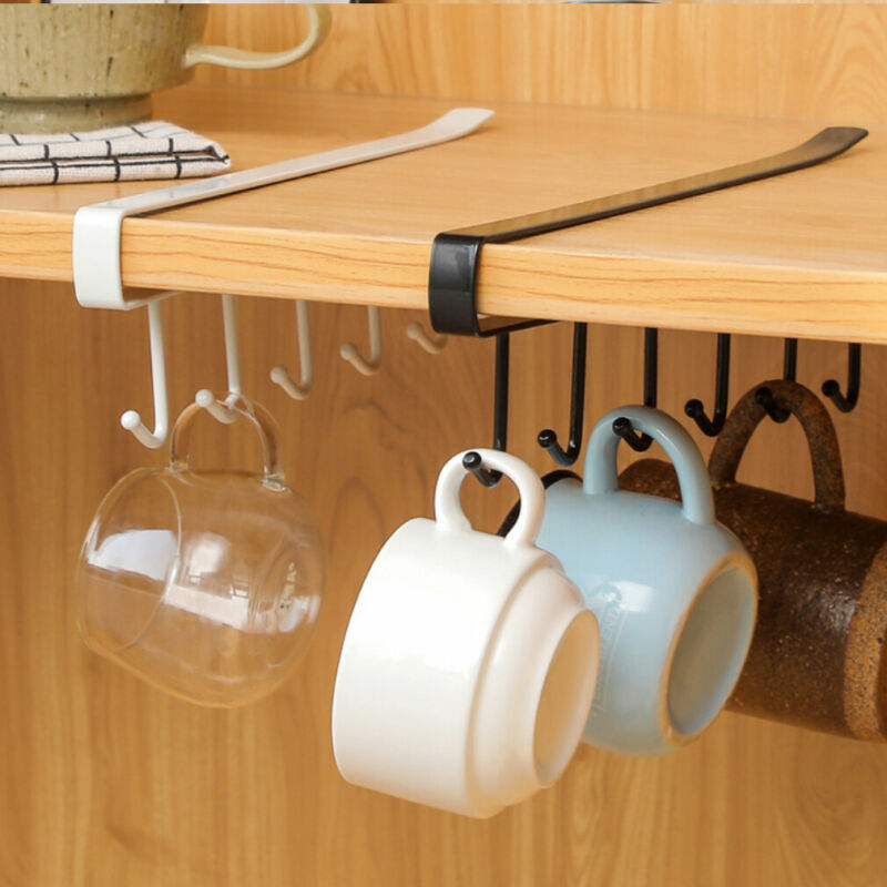 Iron 6 Hooks Cup Holder Hanging Bathroom Hanger Kitchen Organizer Cabinet Door Shelf Removed Storage Rack Home Decor