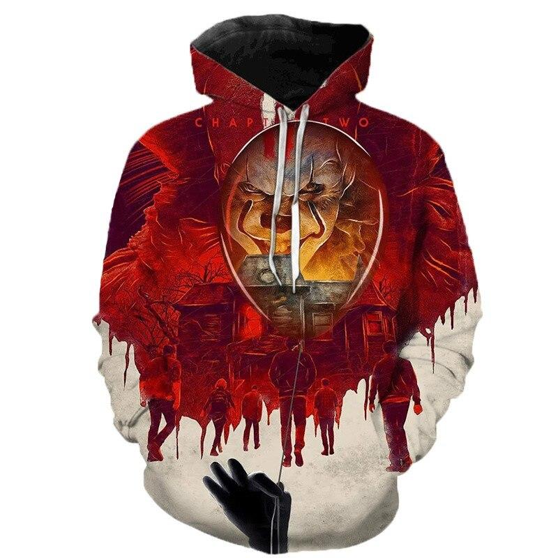 2019 Horror Movie IT Clown 3D Print Hoodie Sweatshirts Men Women Fashion Casual Streetwear Pullover Autumn Winter Funny Hoodies
