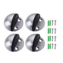 4 штуки стопор для напольной двери из нержавеющей стали, Овальный напольный упор для двери в форме полумесяца с винтами и клеями