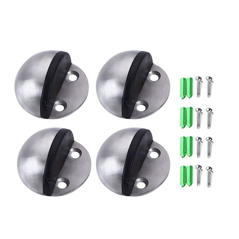 4 Pieces Stainless Steel Floor Door Stopper, Oval Floor Mounted Half Moon Door Stop With Screws And Glues