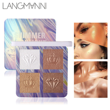 Facial Highlighters Makeup BronzersPalette 4 Colors Brighten Shimmer Powder Facial Body Fine Line Contour Glow Kit  Makeups