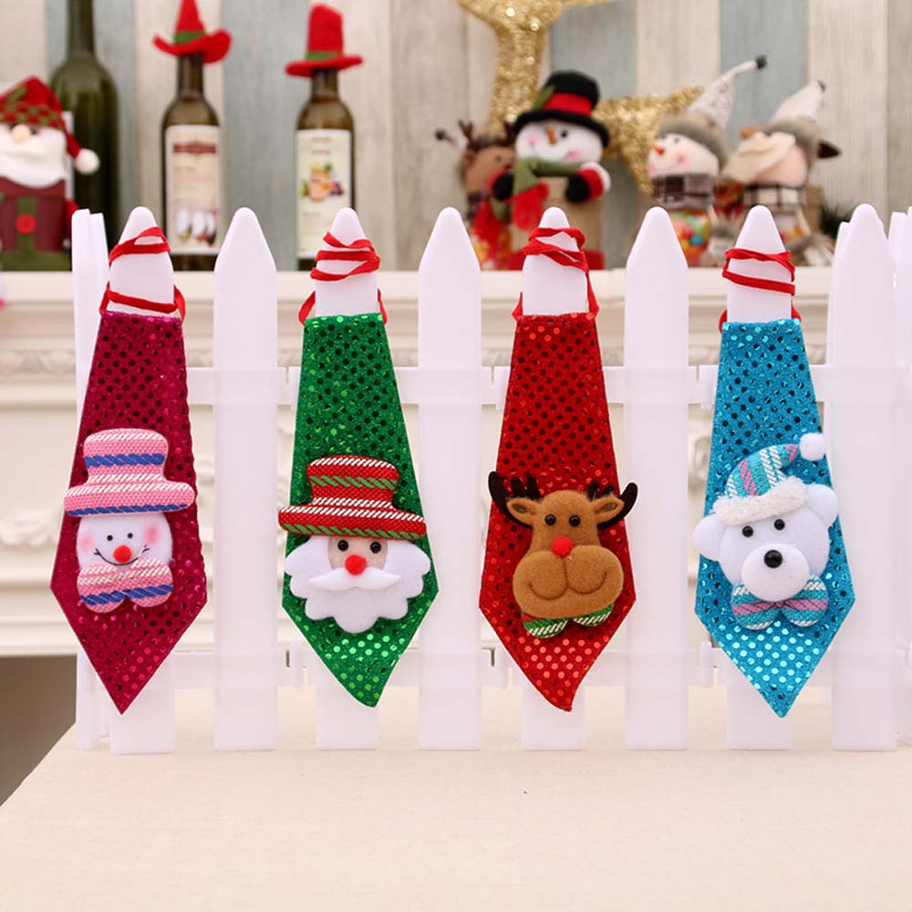 1pc Christmas Tie Sequins Santa Claus Snowman Reindeer Bear Christmas Decoration For Home Xmas Decoration Kids Toy Ornaments
