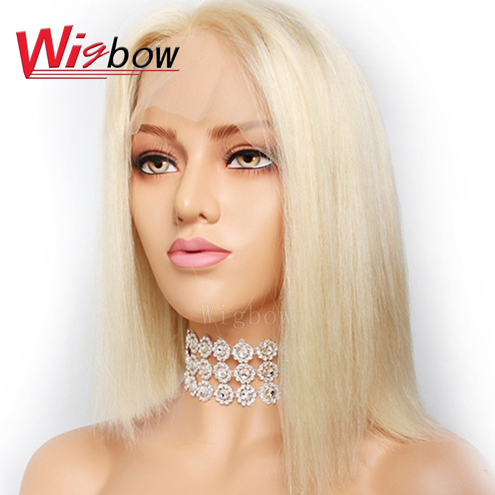 Wigbow OneCut Hair 613 Short Bob Lace Front Human Hair Wig With Baby Bleached Knots Pre plucked Remy Hair Straight Bob Wigs image