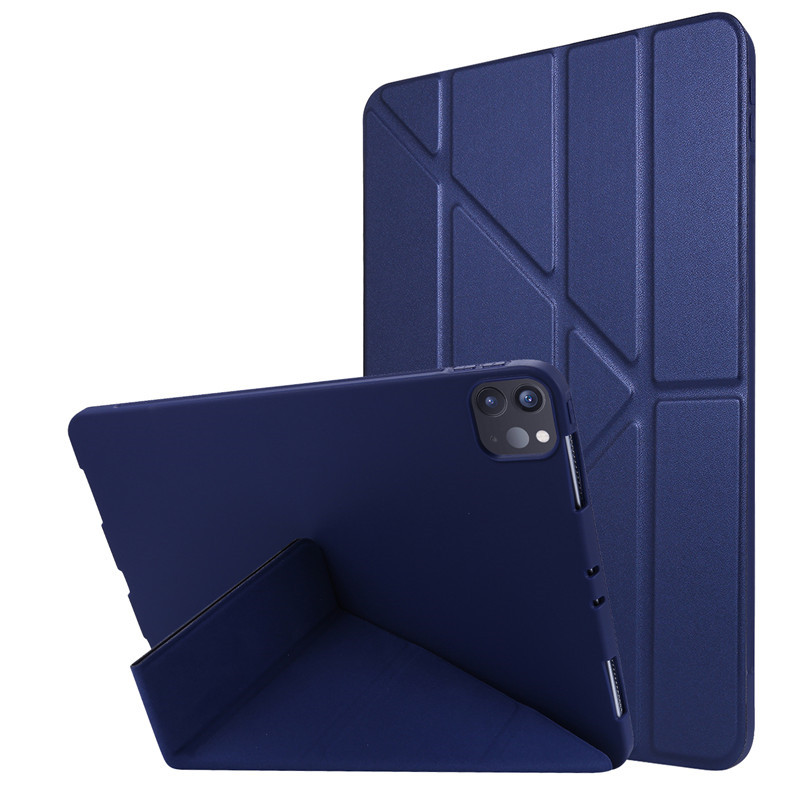Dark Blue White For 2020 iPad Pro 11 inch Case PU Leather Soft Silicone Back Magnetic Smart Cover for