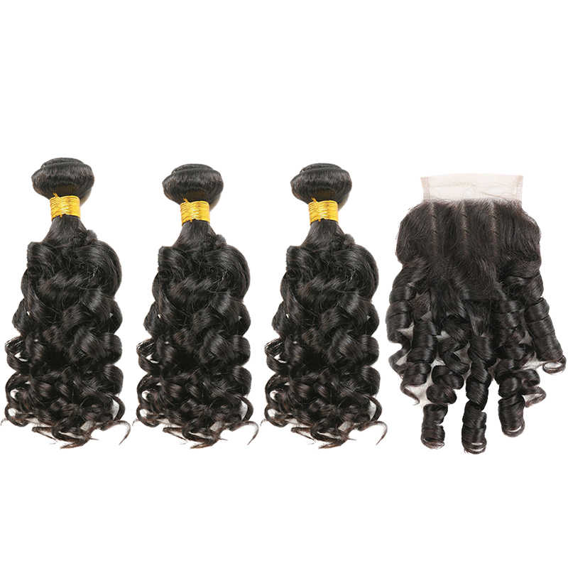 Bouncy Curly Human Hair Bundles With Closure SOKU 3PCS Brazilian Hair Weave Bundles With Lace Closure  Non-Remy Hair Extension