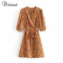 DICLOUD Leopard Print Summer Dress For Women Half Sleeve Elegant Party Dress With Belt Sexy Ladies Off-work Clothing Fashion(China)