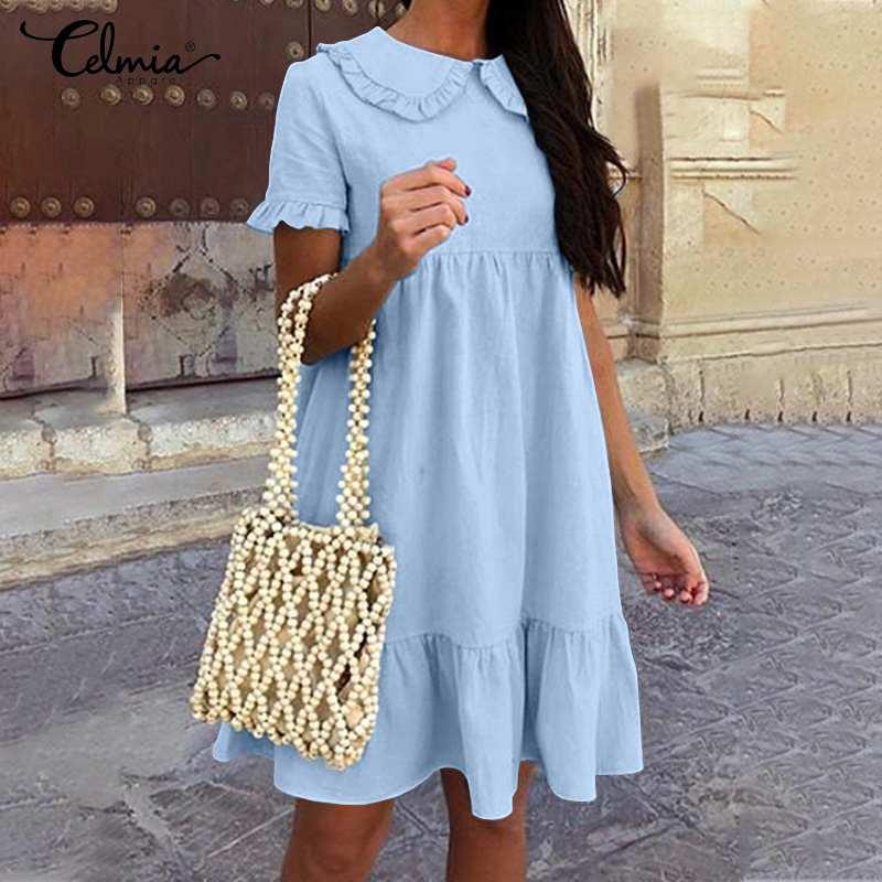 Plus Size Summer Sundress 2021 Celmia Women's Short Sleeve Peter Pan Collar Sexy Mini Dress Fashion Long Shirt Party Vestidos