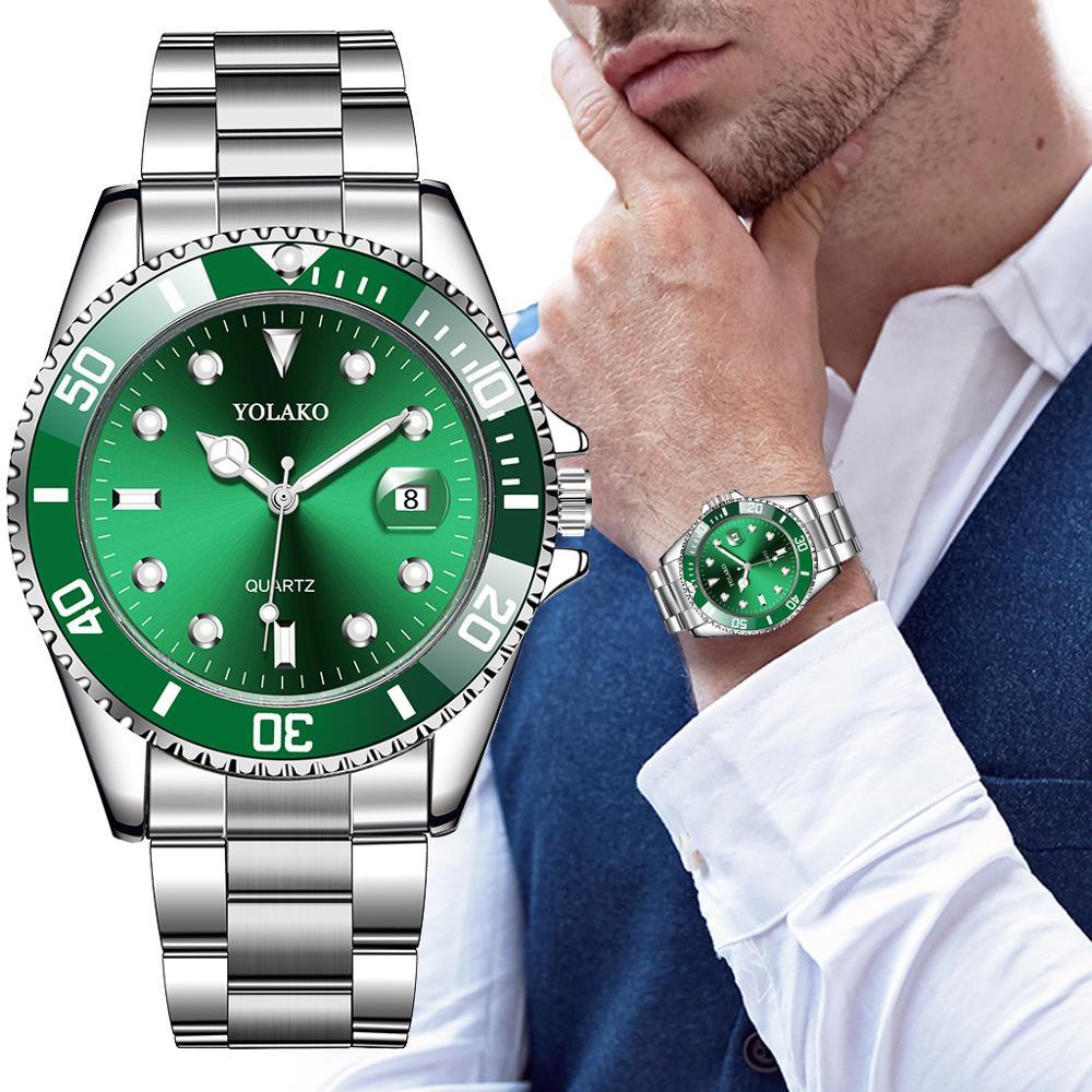 Luxury Men's Watch Stainless Steel Waterproof Clock Male Quartz Calendar Wristwatches Fashion Sport Green Dial Watch Reloj Hombr