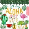 Hoja de palma Tropical para decoración de fiesta hawaiana, globos de piña, flamenco, letras Aloha, suministros para fiestas de cumpleaños, Luau, Verano