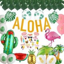Ballons en feuille de palmier tropicale, décor de fête hawaïenne, ananas, flamand rose, Aloha lettre, fournitures pour fête Luau d'été, anniversaire