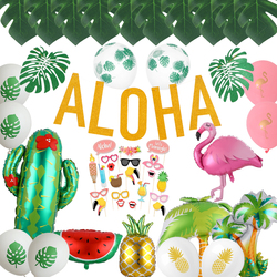 Tropical Palm Leaf Hawaiian Party Decor Pineapple Flamingo Balloons Aloha Letter Ballon Summer Luau Party Birthday Supplies