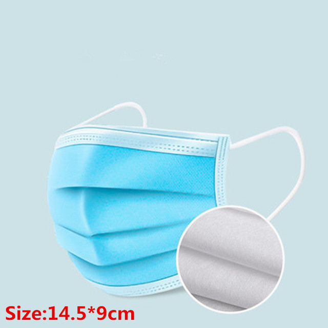 100Pcs 3 layer Disposable Elastic Mouth Soft Breathable Blue Soft Breathable Flu Hygiene Child Kids Face Mask Dropshipping 2