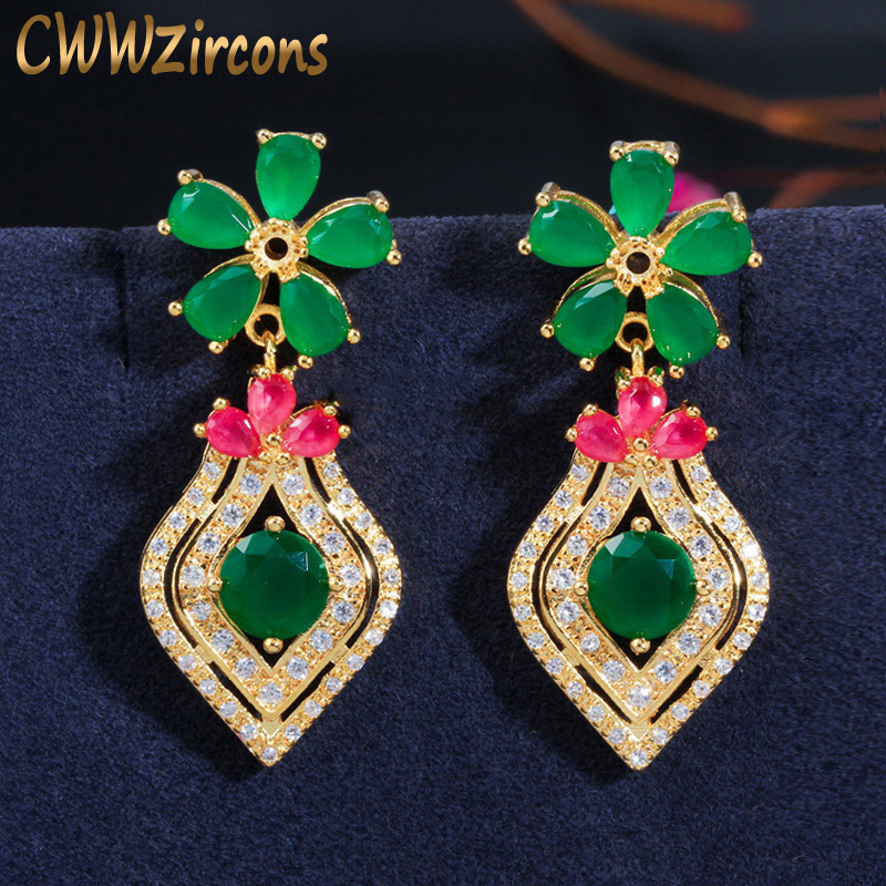 CWWZircons <font><b>Elegant</b></font> Yellow <font><b>Gold</b></font> Silver Red Green Emerald CZ Stone Flower <font><b>Drop</b></font> <font><b>Earrings</b></font> for Women Fashion Vintage <font><b>Jewelry</b></font> CZ388 image