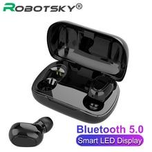 L21 TWS Bluetooth kulaklık V5.0 kablosuz HIFI Stereo gürültü İptal spor su geçirmez kulaklık için Mic ile Xiaomi Samsung Huawei