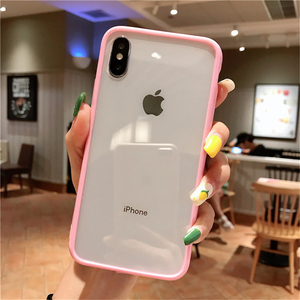 Ottwn Clear Solid Candy Color Phone Case For iPhone 11 Pro Max X XR XS Max 7 8 6 6s Plus Hard Acrylic Back Cover For iPhone 11 7(China)