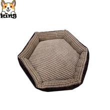 Camas para perros moda gamuza cálido Vintage nido para mascotas perros canil caja para gatos para perros pequeños cama hexagonal invierno sofá suave