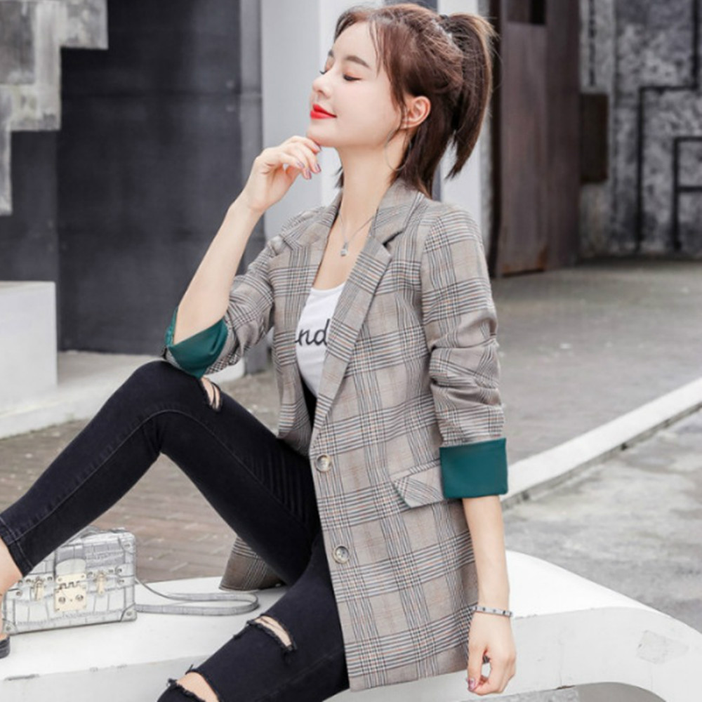 2019 Fashion Temperament Loose Women's Blazer Autumn New Casual Double-breasted Full-sleeve High-quality Ladies Jacket Suit