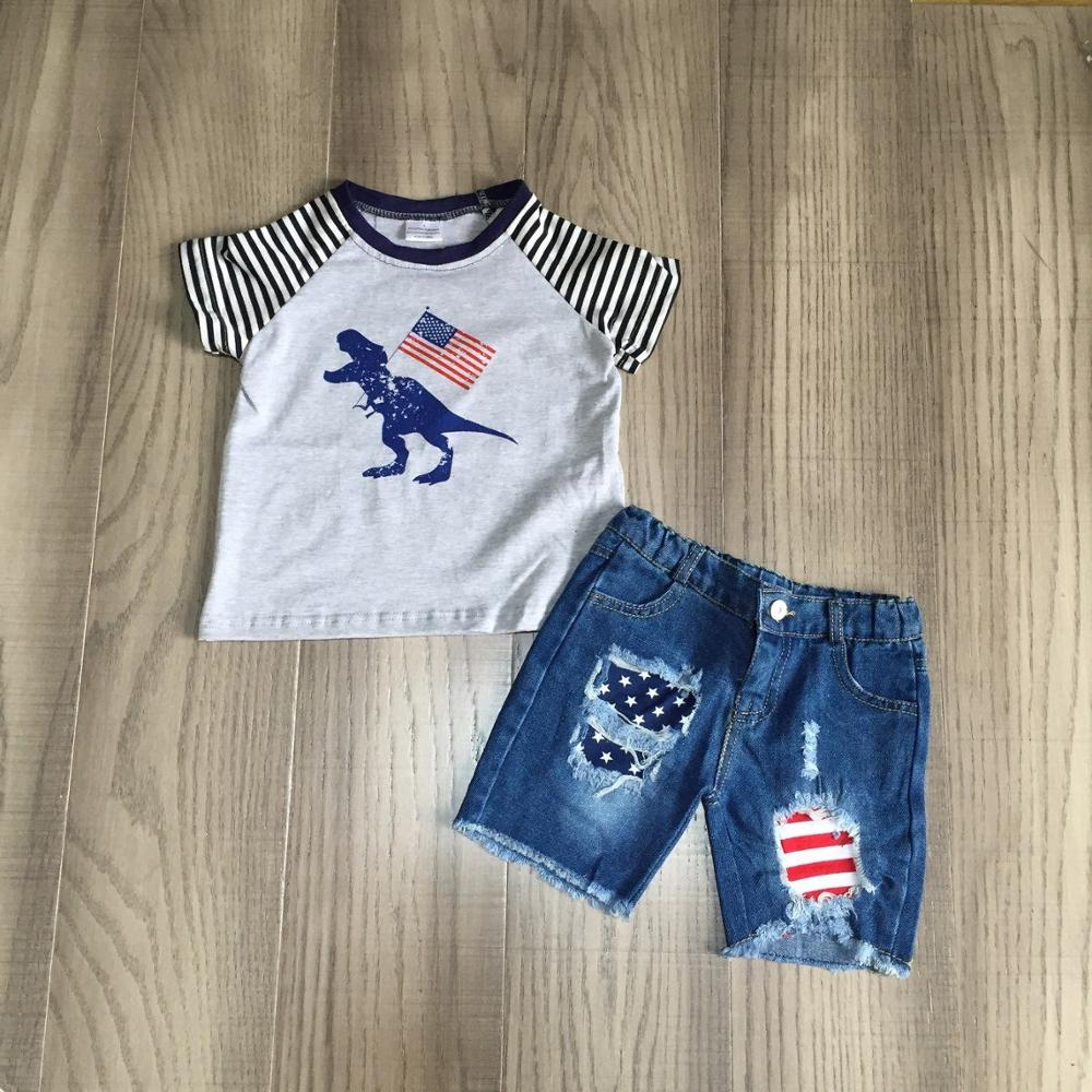baby boy summer dinosaur clothes kids July 4th outfits US flag jeans shorts boys dinosaur shirt 1