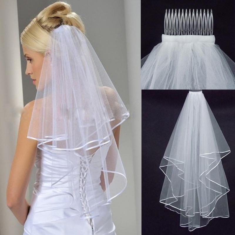 1.5M  Double Layer Wedding Bridal Veil White Off-white Bridal Veil Satin Edge With Comb Elbow Wedding Veil For Women Gifts