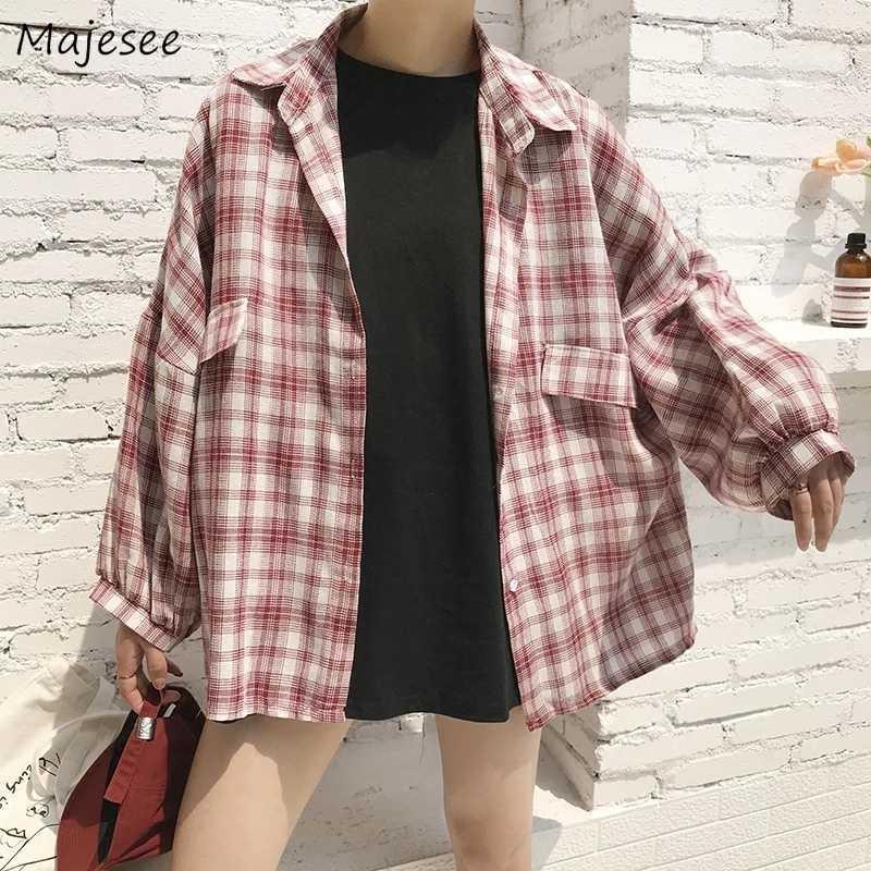 Blouse Women Shirts Plaid Clothes Harajuku Long Sleeve Womens Tops and Blouses Korean Fashion Clothing Streetwear Casual Loose
