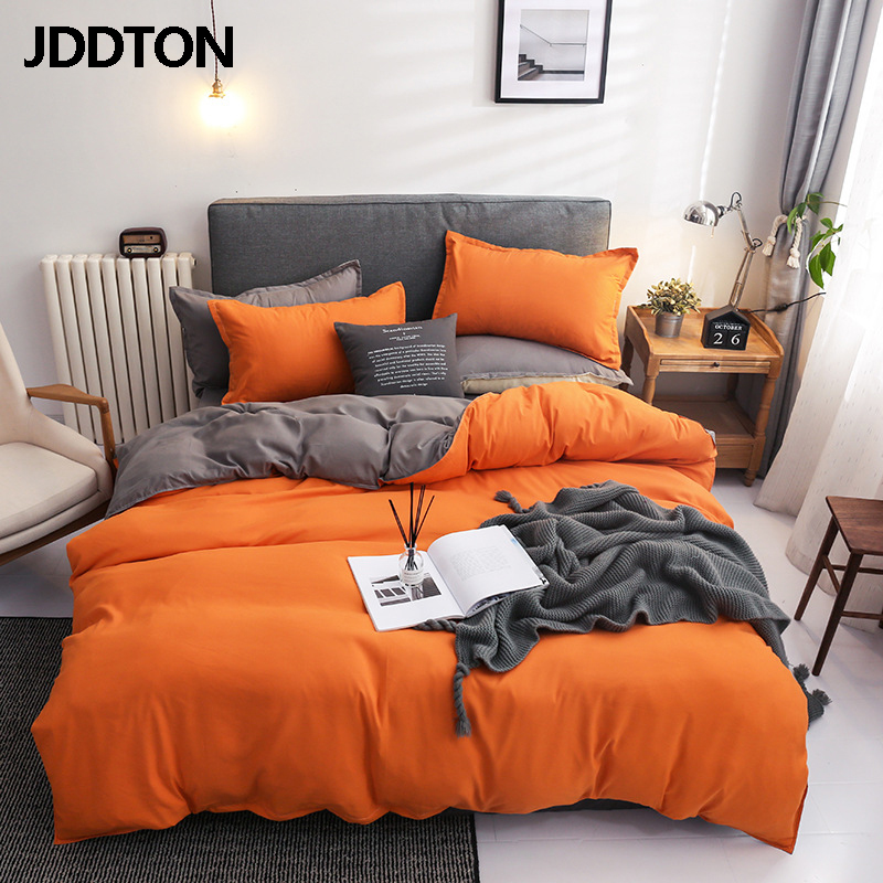 JDDTON New Fashion Double Sided Useful Bed Sheet Set 4Pcs Simple Style Bedding Set Solid Color Bed Sheet Set BE135