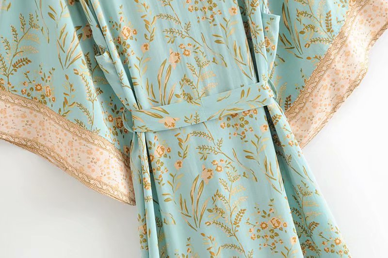 Image 5 - Vintage chic women green floral print bat sleeve rayon beach Bohemian robe kimono Ladies V neck  sashes  Boho dress vestidosDresses   -