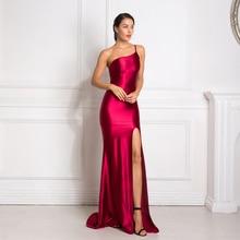 סקסי אחד כתף שרוולים Bodycon מקסי שמלה גבוהה פיצול בחזרה רוכסן באורך רצפת שמלת סטרפלס ארוך שמלה