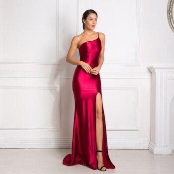 Sexy One Shoulder Sleeveless Bodycon Maxi Dress High Split Back Zipper Floor Length Strapless Long