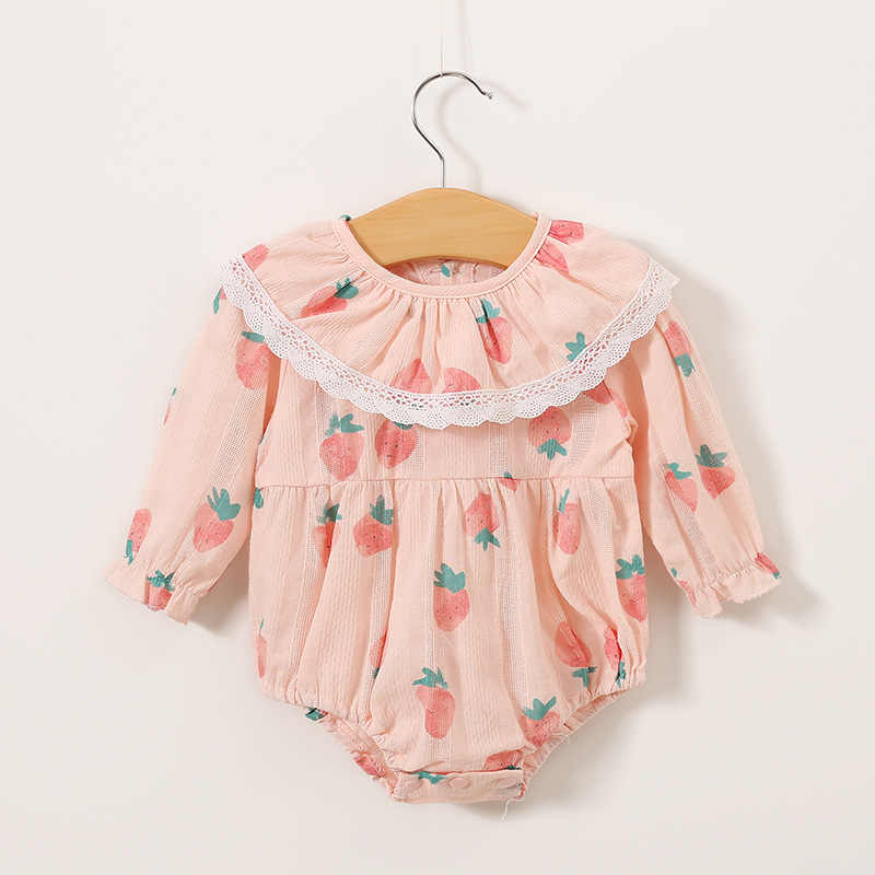 Baby Infant Bodysuits Newborn Girls Baby Bodysuit Princess Clothes with Lovely Printing 0-12m Kids Long Sleeve Outfit Clothing