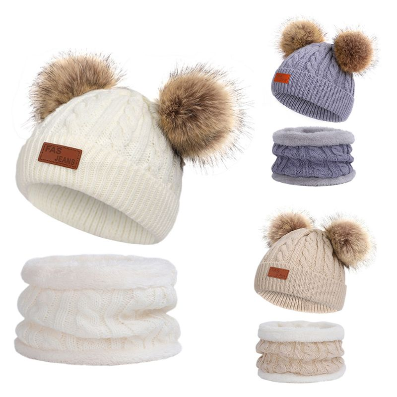 Kids Winter Beanie Hat Infinity Scarf Set Cute Fluffy Pompom Cap Neck Warmer High Quality And Brand New