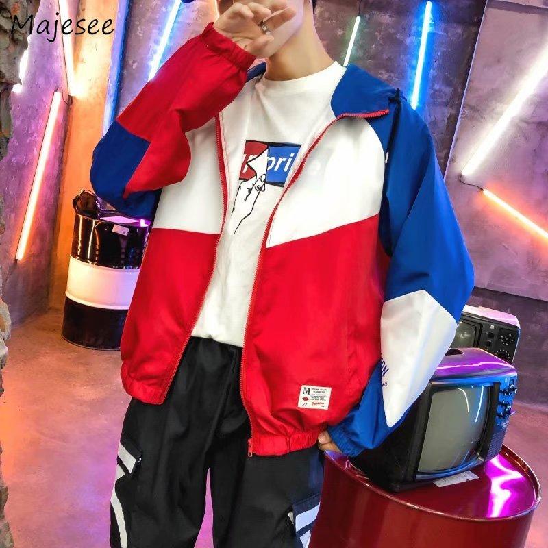 Jackets Men 2020  Zipper Turn-down Collar Patchwork Leisure Loose Pockets Harajuku Coats Mens Korean Style Hip Hop Chic Jacket