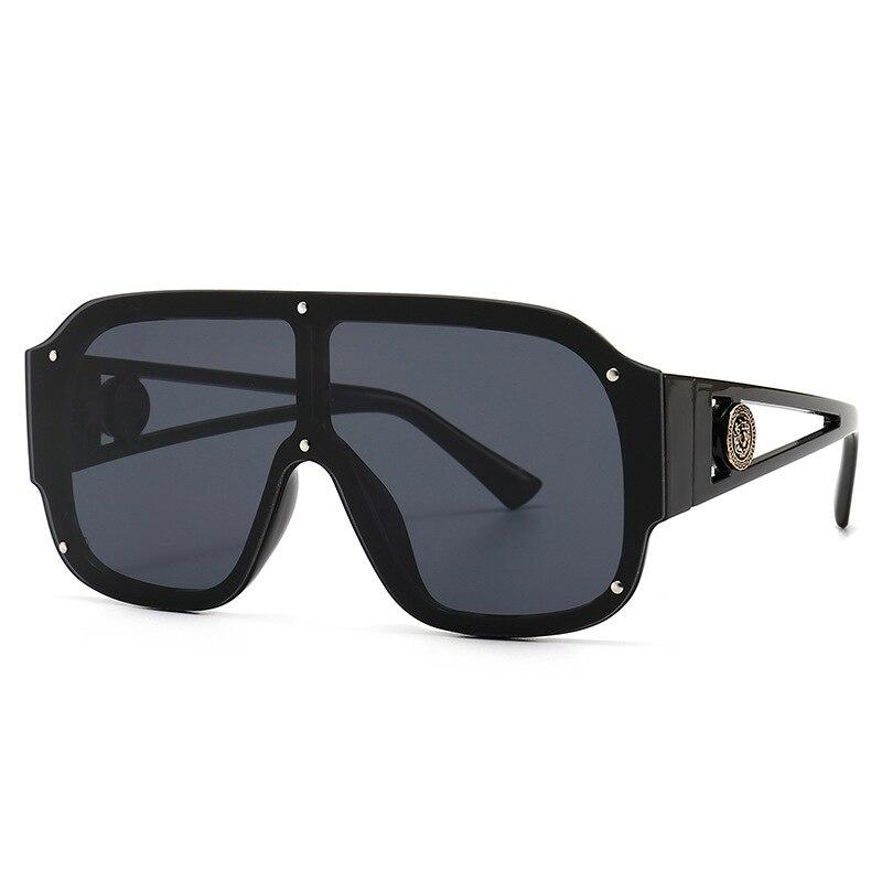Очки солнцезащитные мужские/женские большие квадратные, модные роскошные винтажные цельнокроеные зеркальные солнечные очки с заклепками ...